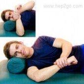 Sleeper Stretch to improve shoulder internal rotation.  Approved use www.hep2go.com