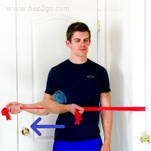 Shoulder External Rotation:Theraband shoulder rehab exercises. Approved use www.hep2go.com