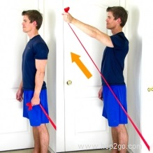 Shoulder Flexion:Theraband shoulder rehab exercises. Approved use www.hep2go.com