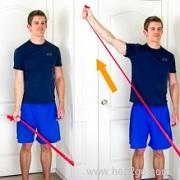 Shoulder Abduction:Theraband shoulder rehab exercises. Approved use www.hep2go.com