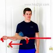 Shoulder External Rotation:Theraband shoulder rehab exercises. Approved use www.hep2go.com