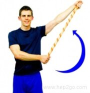 Assisted shoulder abduction to increase shoulder mobility.  Approved use www.hep2go.com