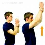 Assisted shoulder flexion mobility exercise.  Approved use www.hep2go.com