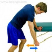 Pendulum exercises are a great place to start with rotator cuff injury exercises.  Approved use www.hep2go.com