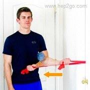 Shoulder Internal Rotation:Theraband shoulder rehab exercises. Approved Use www.hep2go.com